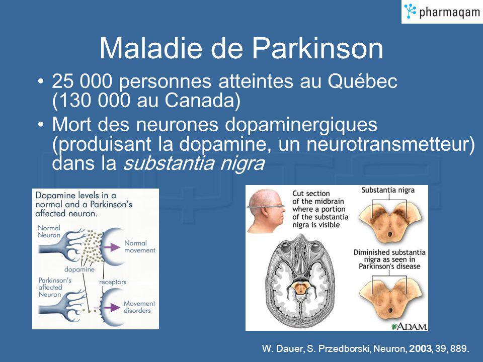 Maladie de Parkinson 25 000 personnes atteintes au Québec (130 000 au Canada) Mort des neurones dopaminergiques (produisant la dopamine, un neurotrans
