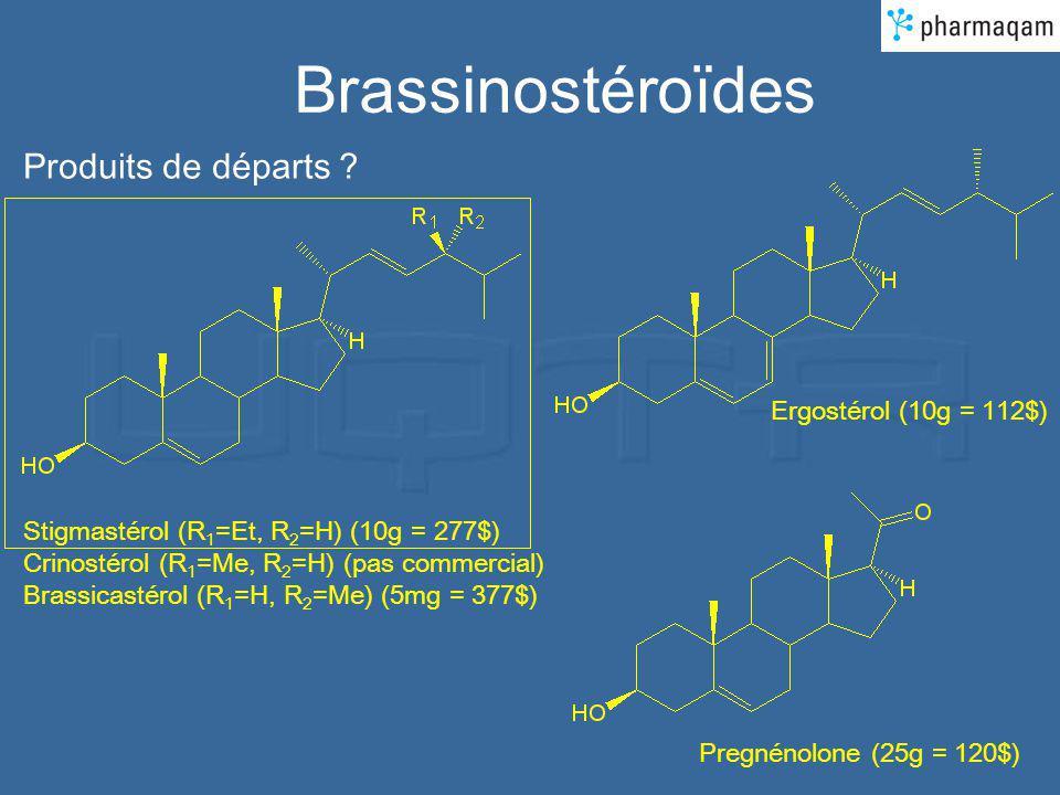 Brassinostéroïdes Produits de départs ? Stigmastérol (R 1 =Et, R 2 =H) (10g = 277$) Crinostérol (R 1 =Me, R 2 =H) (pas commercial) Brassicastérol (R 1