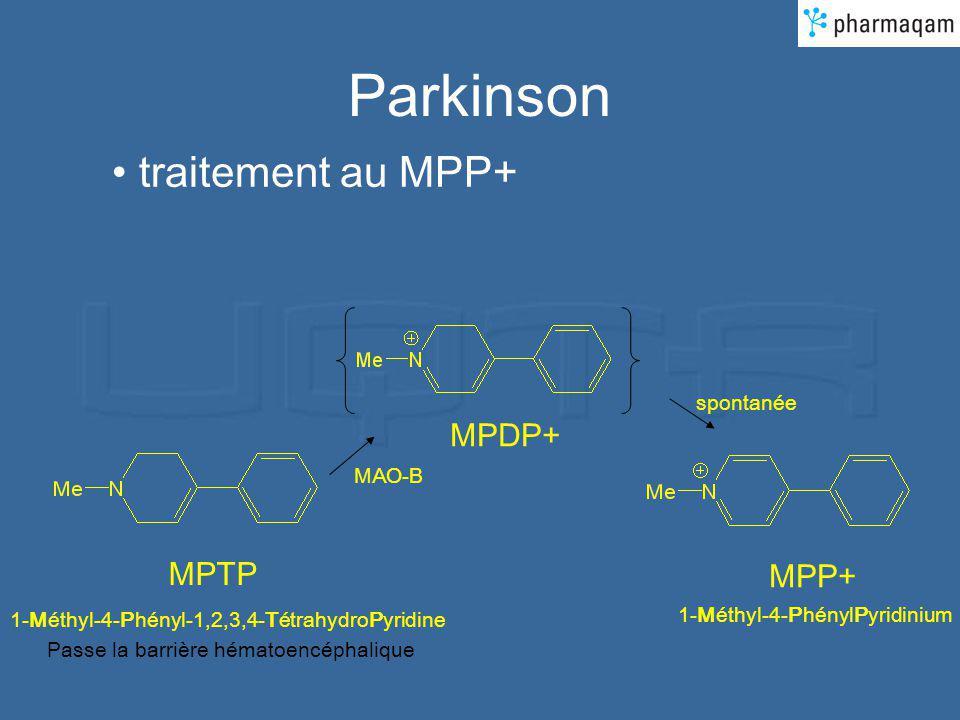 Parkinson traitement au MPP+ MPTP 1-Méthyl-4-Phényl-1,2,3,4-TétrahydroPyridine MPP+ 1-Méthyl-4-PhénylPyridinium Passe la barrière hématoencéphalique MPDP+ MAO-B spontanée