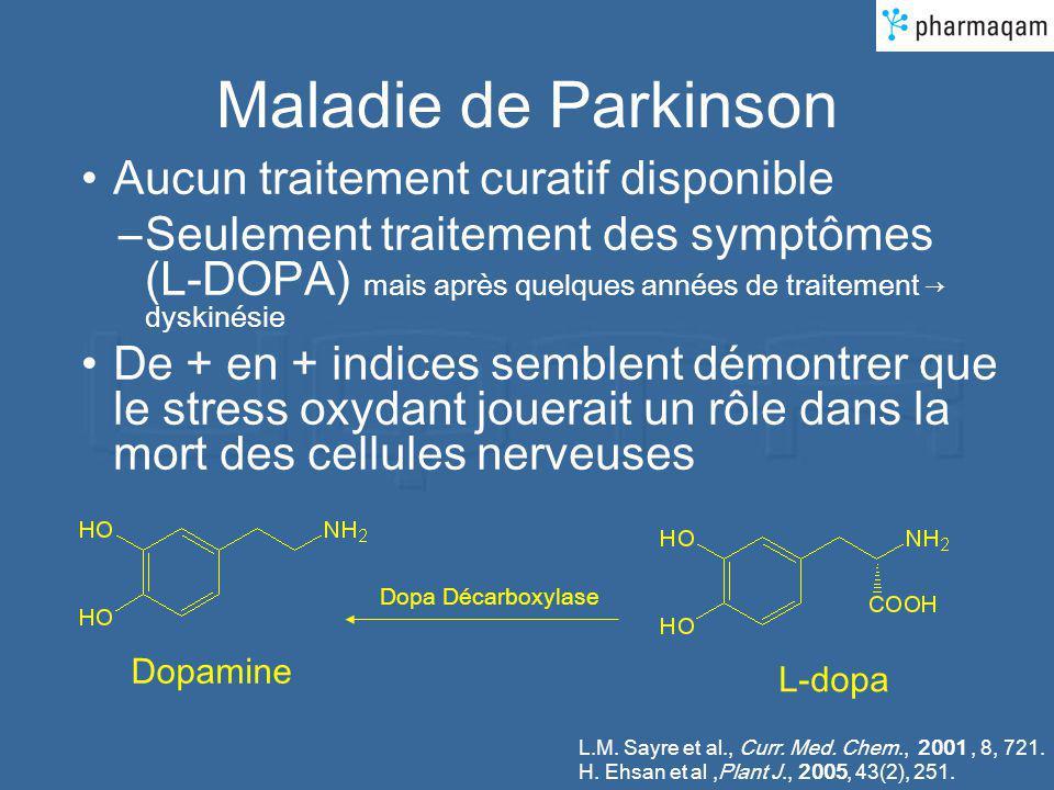 Maladie de Parkinson Aucun traitement curatif disponible –Seulement traitement des symptômes (L-DOPA) mais après quelques années de traitement dyskiné