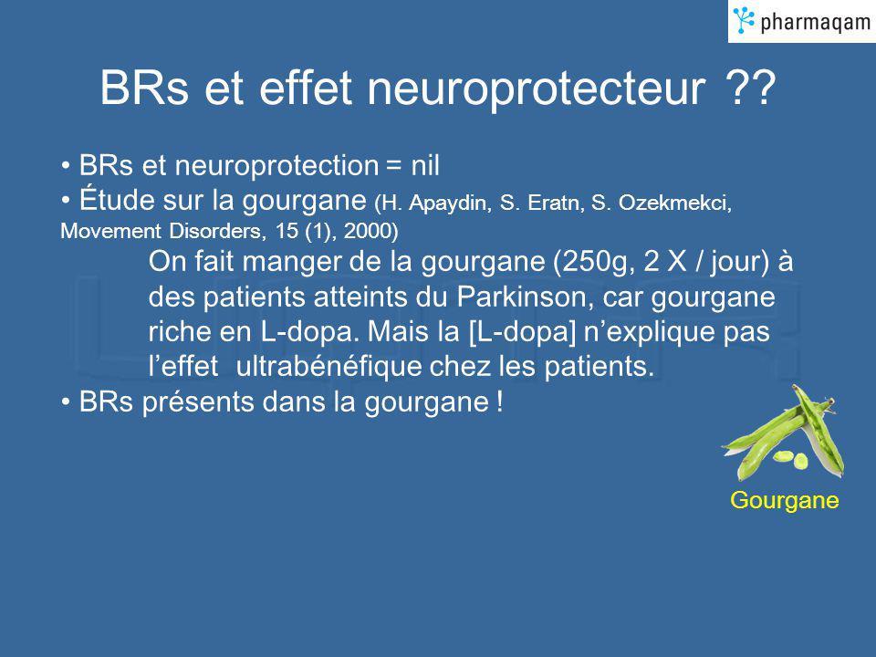BRs et effet neuroprotecteur ?? BRs et neuroprotection = nil Étude sur la gourgane (H. Apaydin, S. Eratn, S. Ozekmekci, Movement Disorders, 15 (1), 20