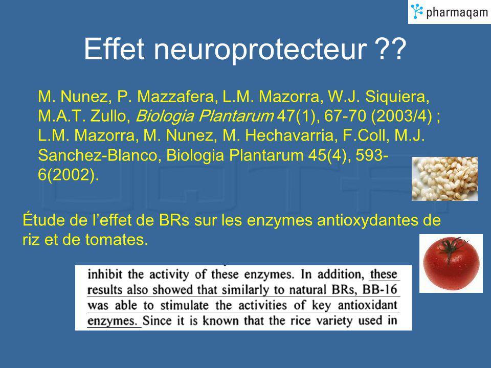 Effet neuroprotecteur ?? M. Nunez, P. Mazzafera, L.M. Mazorra, W.J. Siquiera, M.A.T. Zullo, Biologia Plantarum 47(1), 67-70 (2003/4) ; L.M. Mazorra, M