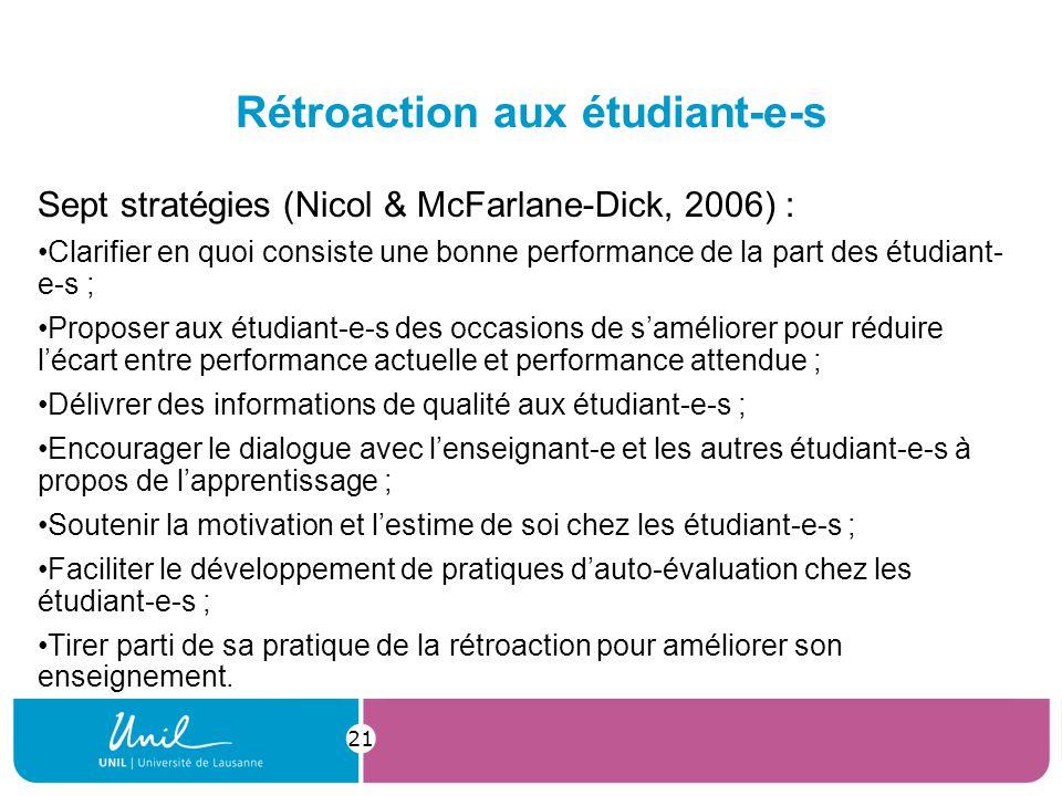 Rétroaction aux étudiant-e-s Sept stratégies (Nicol & McFarlane-Dick, 2006) : Clarifier en quoi consiste une bonne performance de la part des étudiant- e-s ; Proposer aux étudiant-e-s des occasions de saméliorer pour réduire lécart entre performance actuelle et performance attendue ; Délivrer des informations de qualité aux étudiant-e-s ; Encourager le dialogue avec lenseignant-e et les autres étudiant-e-s à propos de lapprentissage ; Soutenir la motivation et lestime de soi chez les étudiant-e-s ; Faciliter le développement de pratiques dauto-évaluation chez les étudiant-e-s ; Tirer parti de sa pratique de la rétroaction pour améliorer son enseignement.