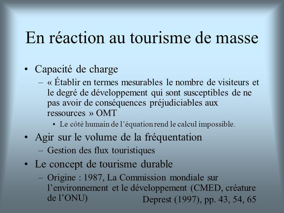 En réaction au tourisme de masse Capacité de charge –« Établir en termes mesurables le nombre de visiteurs et le degré de développement qui sont susceptibles de ne pas avoir de conséquences préjudiciables aux ressources » OMT Le côté humain de léquation rend le calcul impossible.