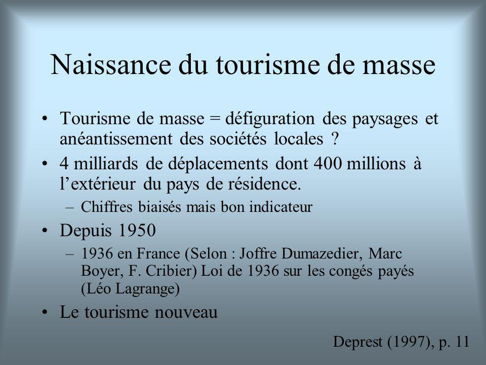 Naissance du tourisme de masse Tourisme de masse = défiguration des paysages et anéantissement des sociétés locales ? 4 milliards de déplacements dont