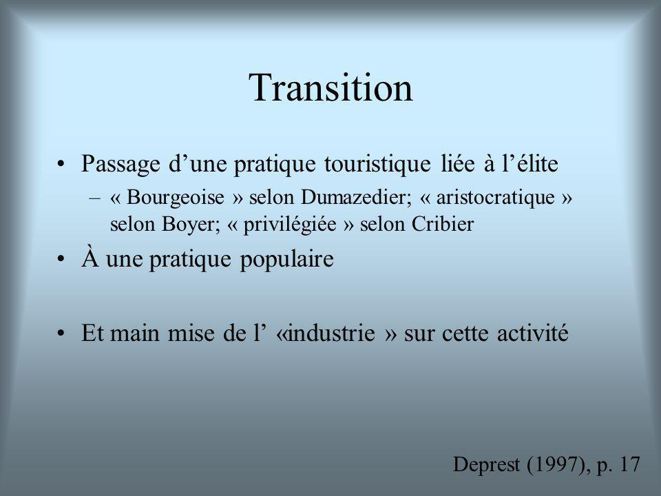 Transition Passage dune pratique touristique liée à lélite –« Bourgeoise » selon Dumazedier; « aristocratique » selon Boyer; « privilégiée » selon Cribier À une pratique populaire Et main mise de l «industrie » sur cette activité Deprest (1997), p.