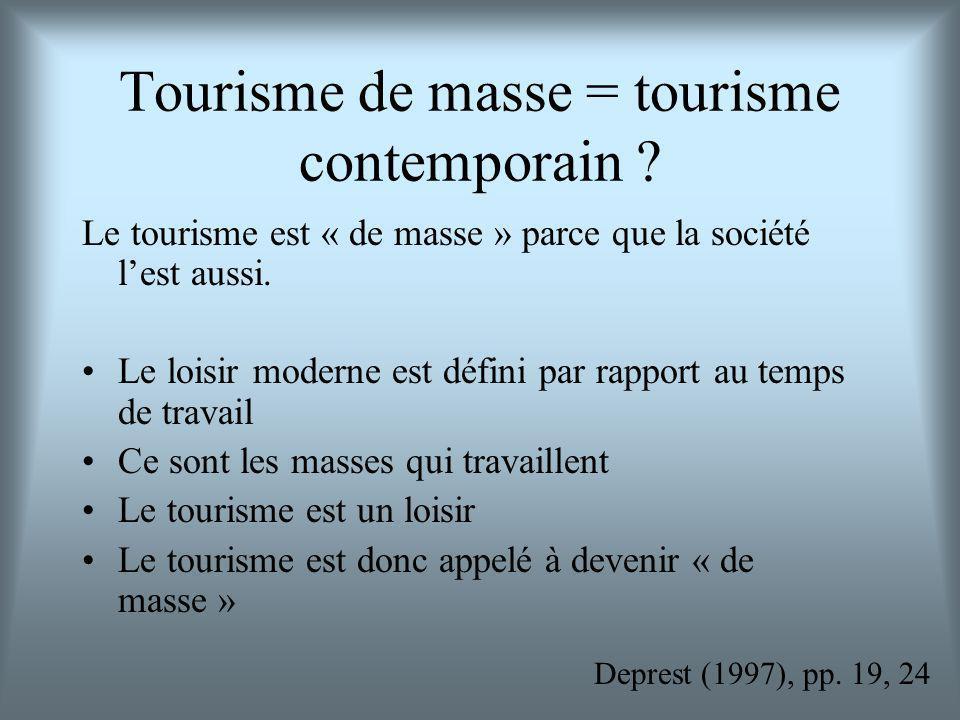 Tourisme de masse = tourisme contemporain ? Le tourisme est « de masse » parce que la société lest aussi. Le loisir moderne est défini par rapport au