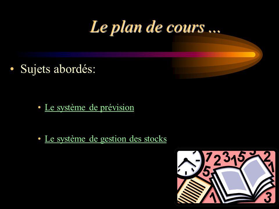 Le plan de cours... Sujets abordés: Le système de prévision Le système de gestion des stocks