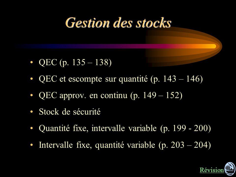 Gestion des stocks QEC (p. 135 – 138) QEC et escompte sur quantité (p. 143 – 146) QEC approv. en continu (p. 149 – 152) Stock de sécurité Quantité fix