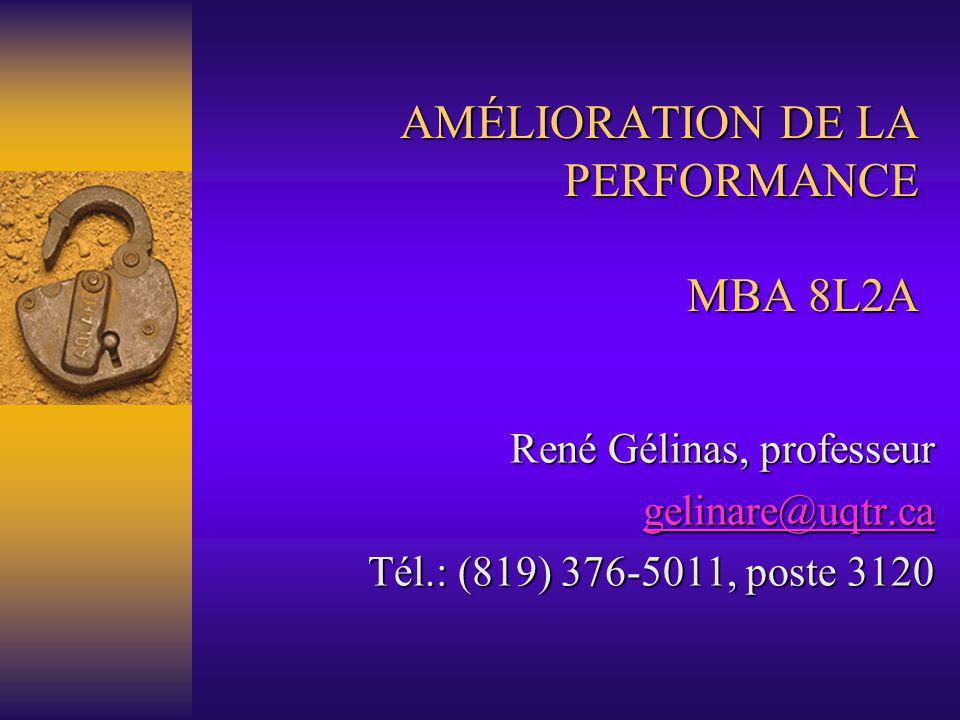 AMÉLIORATION DE LA PERFORMANCE MBA 8L2A René Gélinas, professeur gelinare@uqtr.ca Tél.: (819) 376-5011, poste 3120