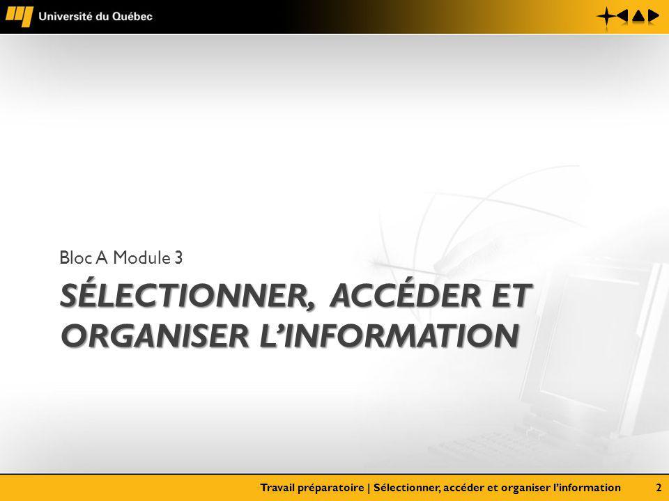 SÉLECTIONNER, ACCÉDER ET ORGANISER LINFORMATION Bloc A Module 3 Travail préparatoire | Sélectionner, accéder et organiser linformation2