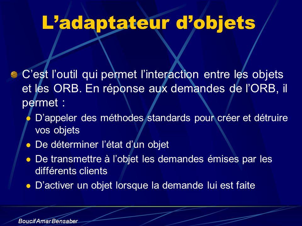 Boucif Amar Bensaber Ladaptateur dobjets Cest loutil qui permet linteraction entre les objets et les ORB. En réponse aux demandes de lORB, il permet :