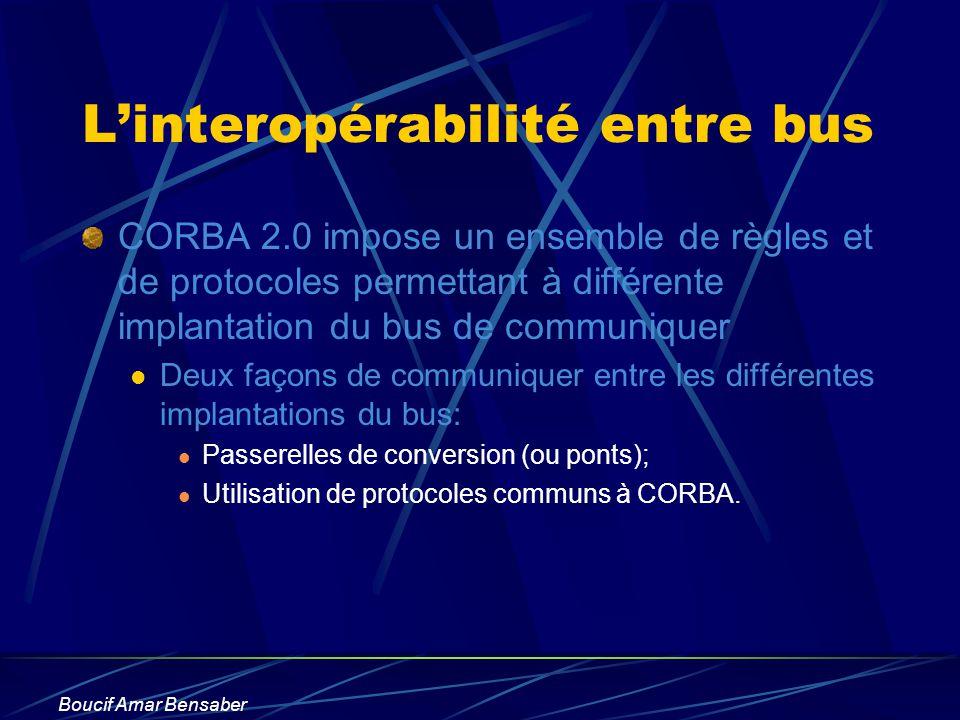 Boucif Amar Bensaber Linteropérabilité entre bus CORBA 2.0 impose un ensemble de règles et de protocoles permettant à différente implantation du bus d