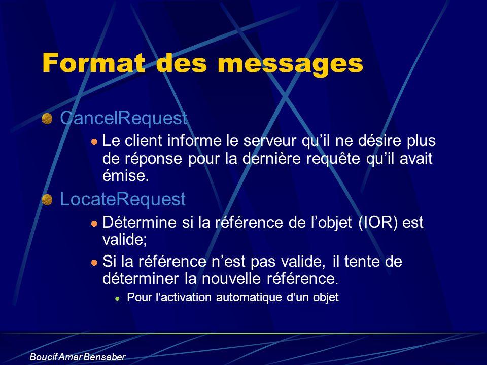 Boucif Amar Bensaber Format des messages CancelRequest Le client informe le serveur quil ne désire plus de réponse pour la dernière requête quil avait