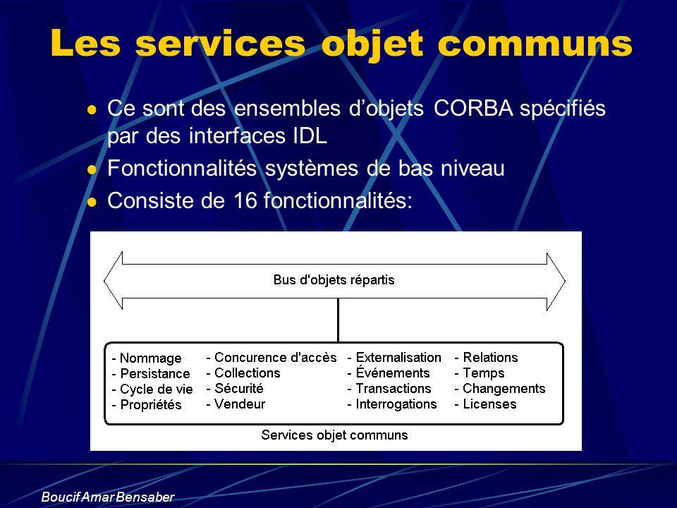 Boucif Amar Bensaber Les services objet communs Ce sont des ensembles dobjets CORBA spécifiés par des interfaces IDL Fonctionnalités systèmes de bas n