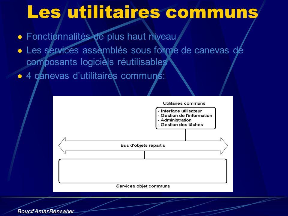 Boucif Amar Bensaber Les utilitaires communs Fonctionnalités de plus haut niveau Les services assemblés sous forme de canevas de composants logiciels