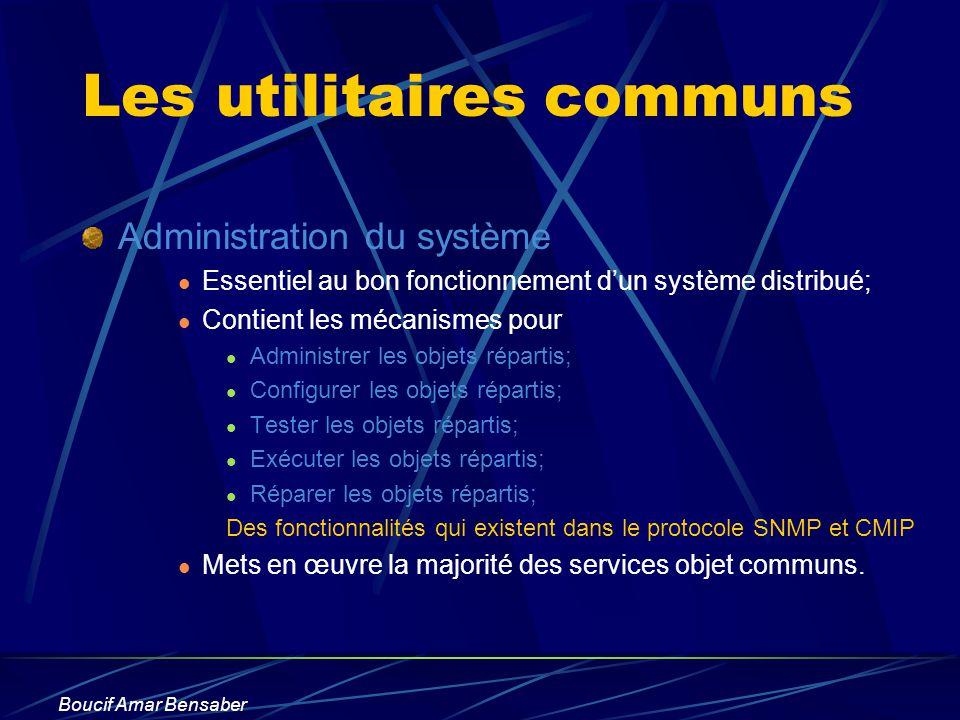 Boucif Amar Bensaber Les utilitaires communs Administration du système Essentiel au bon fonctionnement dun système distribué; Contient les mécanismes