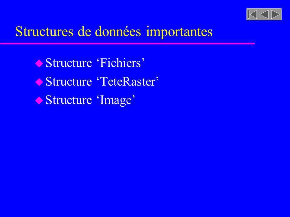 Structures de données importantes u Structure Fichiers u Structure TeteRaster u Structure Image