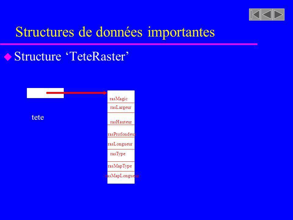 Structures de données importantes u Structure TeteRaster rasMagic rasLargeur rasHauteur rasProfondeur tete rasLongueur rasType rasMapType rasMapLongue