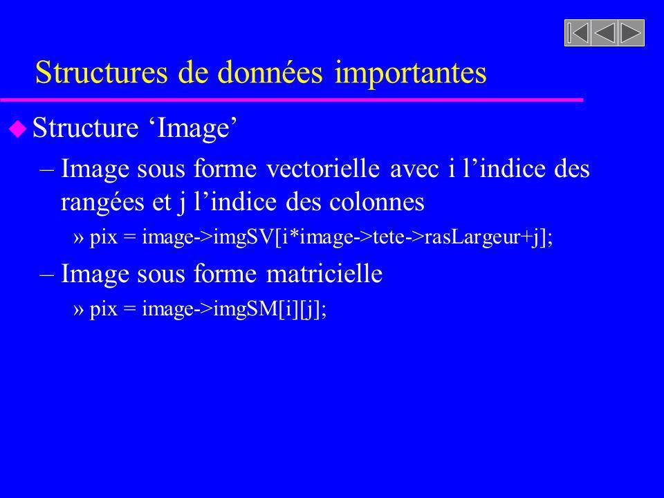 Structures de données importantes u Structure Image –Image sous forme vectorielle avec i lindice des rangées et j lindice des colonnes »pix = image->i