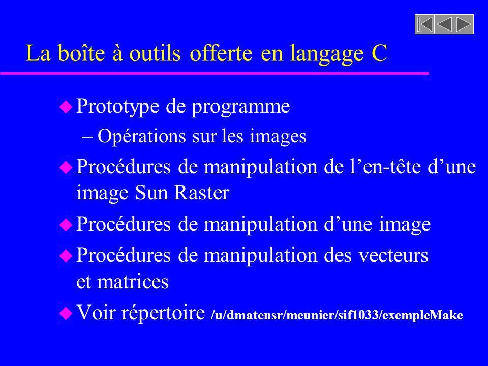 La boîte à outils offerte en langage C u Prototype de programme –Opérations sur les images u Procédures de manipulation de len-tête dune image Sun Ras