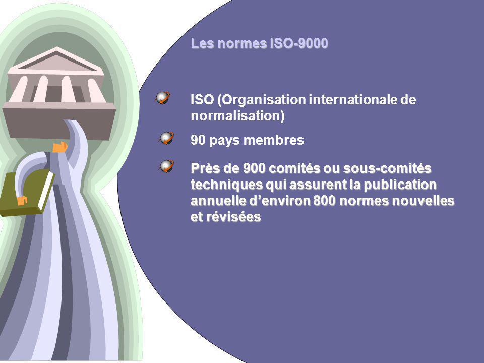 12 Les normes ISO-9000 ISO (Organisation internationale de normalisation) 90 pays membres Près de 900 comités ou sous-comités techniques qui assurent la publication annuelle denviron 800 normes nouvelles et révisées