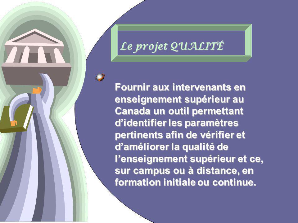 16 Le projet QUALITÉ Fournir aux intervenants en enseignement supérieur au Canada un outil permettant didentifier les paramètres pertinents afin de vérifier et daméliorer la qualité de lenseignement supérieur et ce, sur campus ou à distance, en formation initiale ou continue.