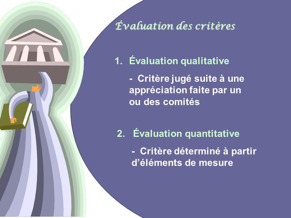 21 Évaluation des critères 1.Évaluation qualitative - Critère jugé suite à une appréciation faite par un ou des comités 2.