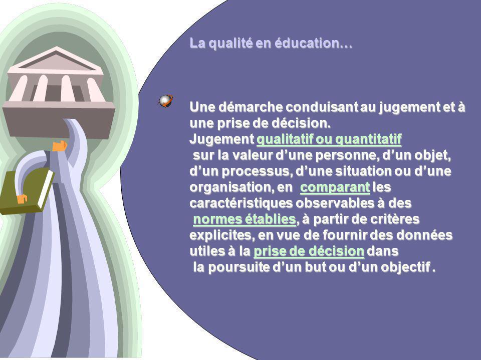 3 La qualité en éducation… Une démarche conduisant au jugement et à une prise de décision.