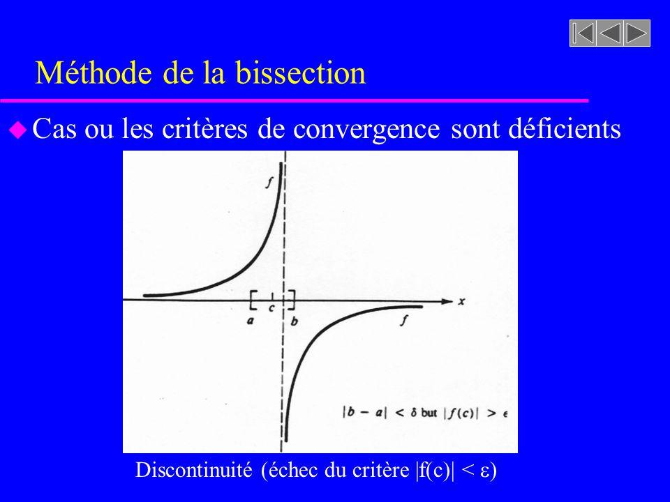 Méthode de la bissection u Cas ou les critères de convergence sont déficients Discontinuité (échec du critère |f(c)| < )