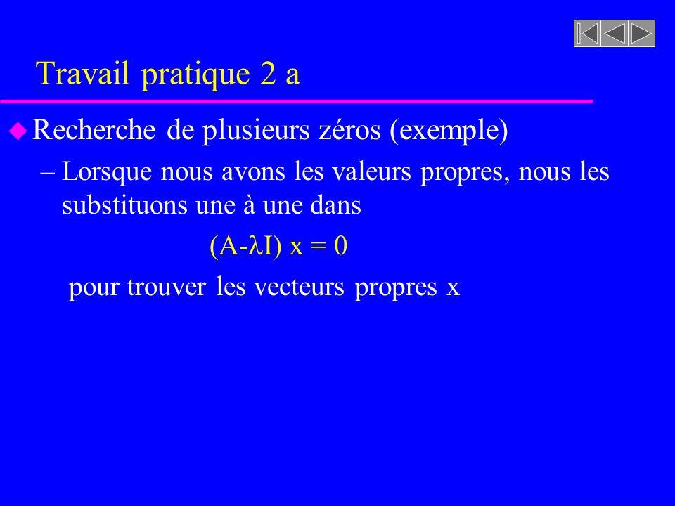 Travail pratique 2 a u Recherche de plusieurs zéros (exemple) –Lorsque nous avons les valeurs propres, nous les substituons une à une dans (A- I) x =