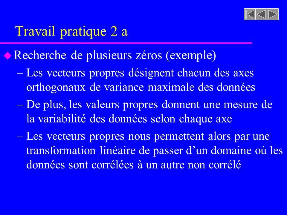 Travail pratique 2 a u Recherche de plusieurs zéros (exemple) –Les vecteurs propres désignent chacun des axes orthogonaux de variance maximale des don