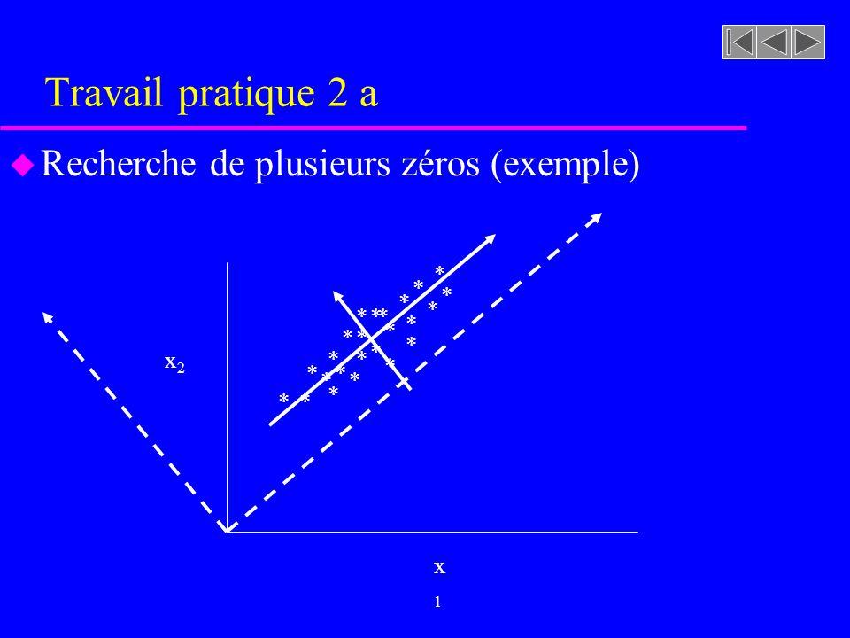 Travail pratique 2 a u Recherche de plusieurs zéros (exemple) x1x1 x2x2 * * * * * * * * * * * * * * * * * * * * * * * *
