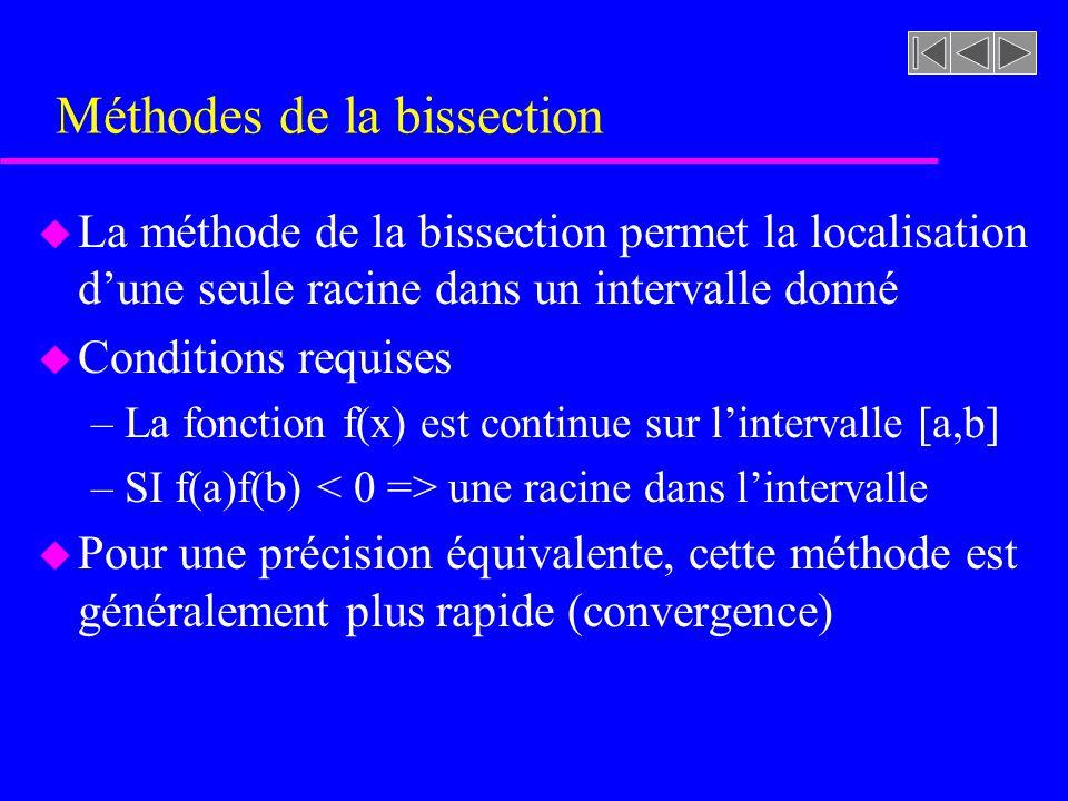Méthodes de la bissection u La méthode de la bissection permet la localisation dune seule racine dans un intervalle donné u Conditions requises –La fo