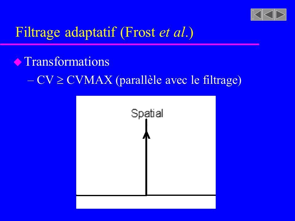 Filtrage adaptatif (Frost et al.) u Transformations –CV CVMAX »Le pixel considéré se trouve dans une zone hétérogène et fort probablement sur un conto