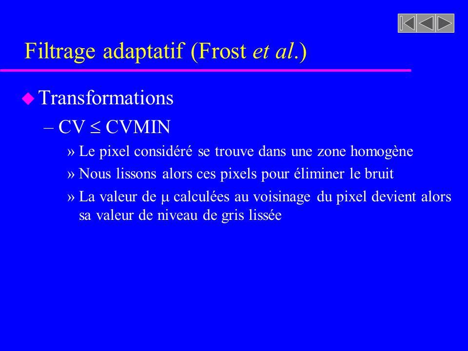 Filtrage adaptatif (Frost et al.) u Transformations –CV CVMAX (parallèle avec le filtrage)
