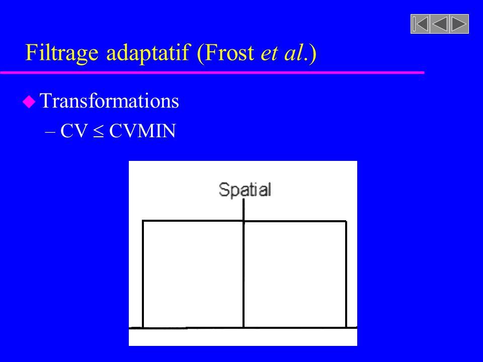 Filtrage adaptatif (Frost et al.) u Transformations –CV CVMIN »Le pixel considéré se trouve dans une zone homogène »Nous lissons alors ces pixels pour