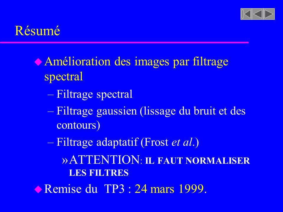 image traitée par filtre spatial gaussien ( ) image traitée par filtre spatial adaptatif (13 x 13) gaussien Travail pratique #3 (3b) riviere.rast filt