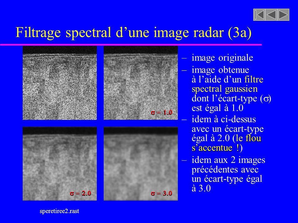 speretiree2.rast Filtrage spectral dune image radar (3a) – image originale – image obtenue à laide dun filtre spectral gaussien dont lécart-type ( ) est égal à 1.0 – idem à ci-dessus avec un écart-type flou égal à 2.0 (le flou saccentue .