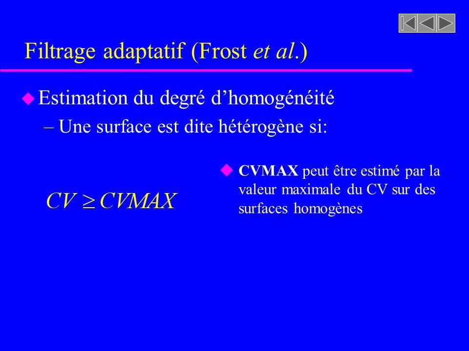 Filtrage adaptatif (Frost et al.) u Estimation du degré dhomogénéité –Une surface est dite hétérogène si: u CVMAX peut être estimé par la valeur maximale du CV sur des surfaces homogènes