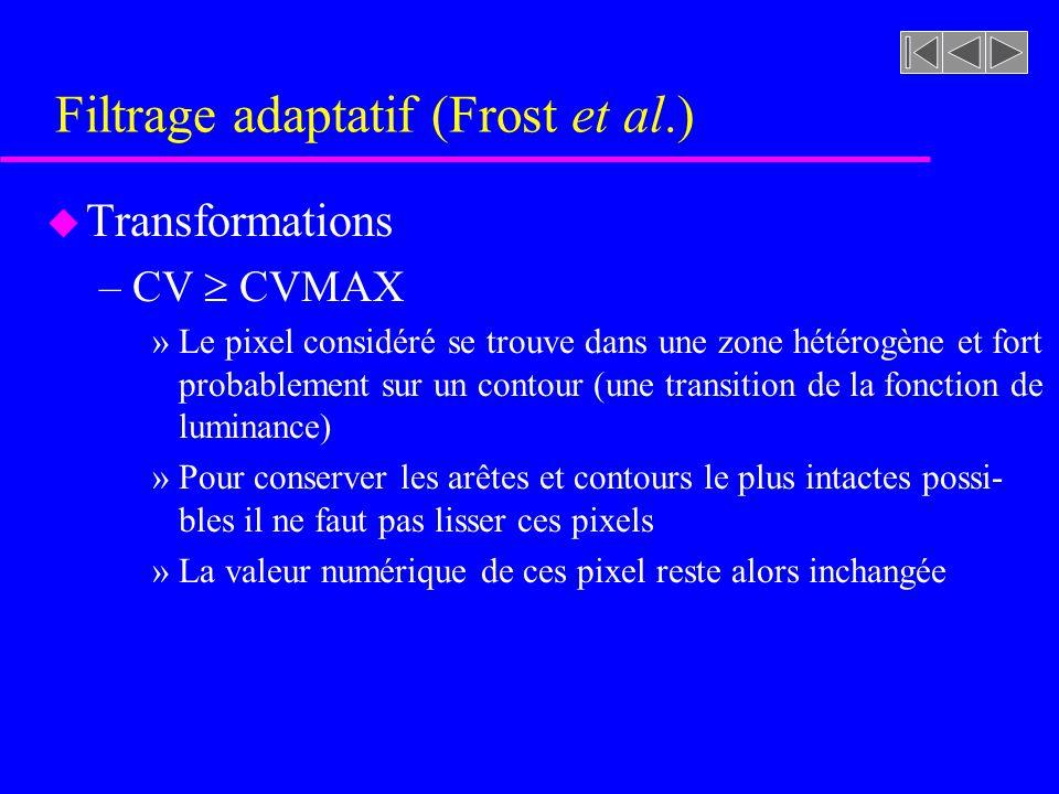 Filtrage adaptatif (Frost et al.) u Transformations –CV CVMAX »Le pixel considéré se trouve dans une zone hétérogène et fort probablement sur un contour (une transition de la fonction de luminance) »Pour conserver les arêtes et contours le plus intactes possi- bles il ne faut pas lisser ces pixels »La valeur numérique de ces pixel reste alors inchangée