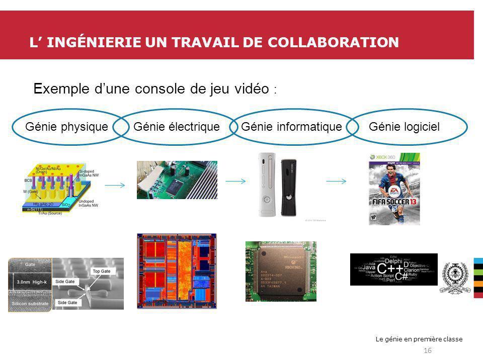 Le génie en première classe L INGÉNIERIE UN TRAVAIL DE COLLABORATION 16 Génie physique Génie électrique Génie informatique Génie logiciel Exemple dune console de jeu vidéo :