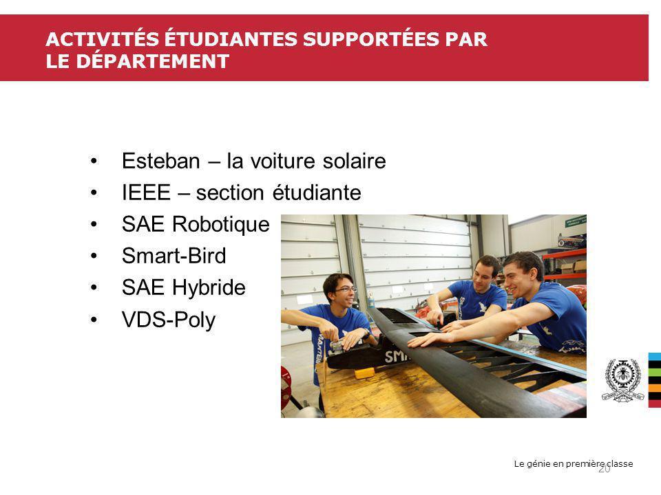 Le génie en première classe ACTIVITÉS ÉTUDIANTES SUPPORTÉES PAR LE DÉPARTEMENT Esteban – la voiture solaire IEEE – section étudiante SAE Robotique Smart-Bird SAE Hybride VDS-Poly 20