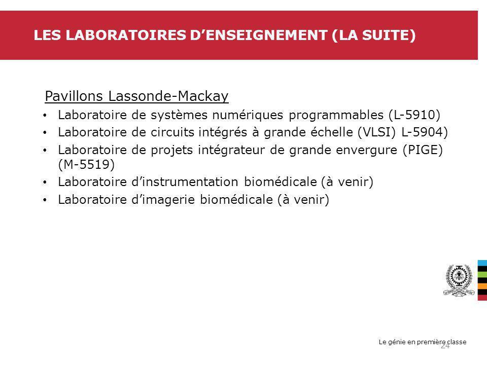 Le génie en première classe LES LABORATOIRES DENSEIGNEMENT (LA SUITE) Pavillons Lassonde-Mackay Laboratoire de systèmes numériques programmables (L-5910) Laboratoire de circuits intégrés à grande échelle (VLSI) L-5904) Laboratoire de projets intégrateur de grande envergure (PIGE) (M-5519) Laboratoire dinstrumentation biomédicale (à venir) Laboratoire dimagerie biomédicale (à venir) 24