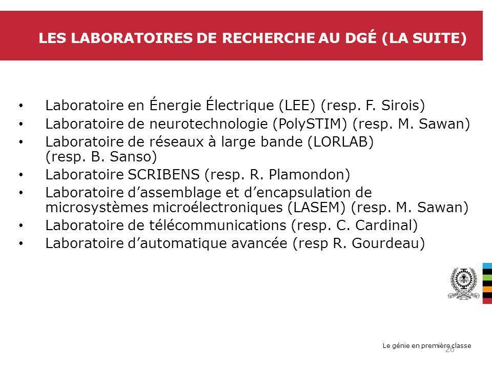 Le génie en première classe LES LABORATOIRES DE RECHERCHE AU DGÉ (LA SUITE) Laboratoire en Énergie Électrique (LEE) (resp.