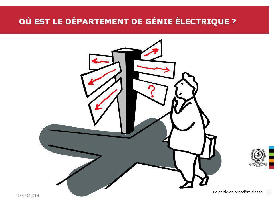 Le génie en première classe OÙ EST LE DÉPARTEMENT DE GÉNIE ÉLECTRIQUE 07/06/2014 27