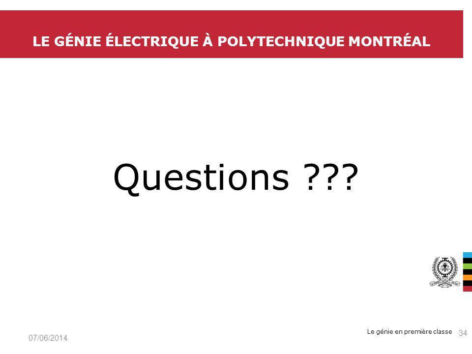 Le génie en première classe Questions .