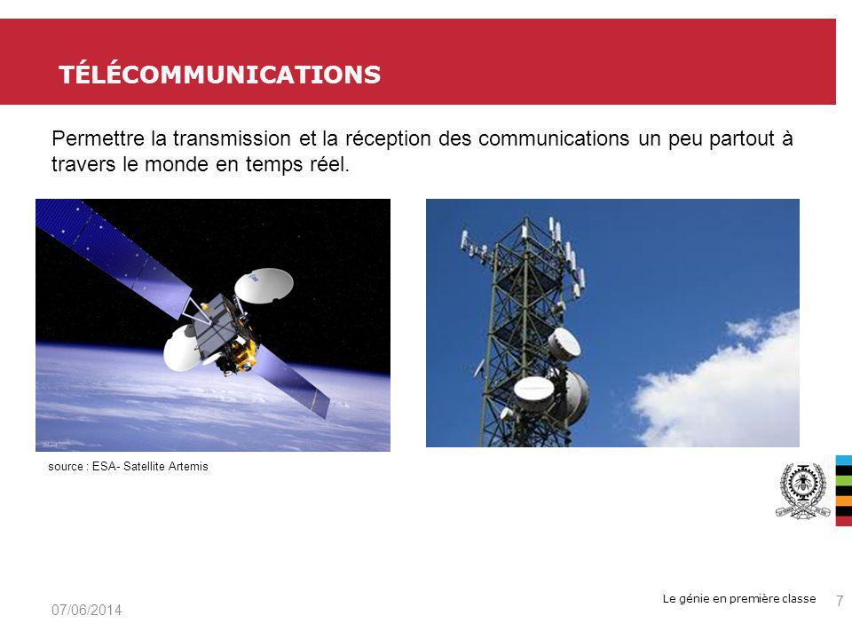 Le génie en première classe TÉLÉCOMMUNICATIONS 07/06/2014 7 source : ESA- Satellite Artemis Permettre la transmission et la réception des communications un peu partout à travers le monde en temps réel.