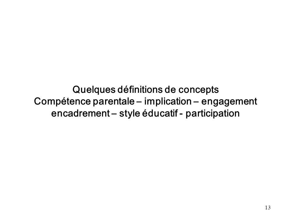 13 Quelques définitions de concepts Compétence parentale – implication – engagement encadrement – style éducatif - participation