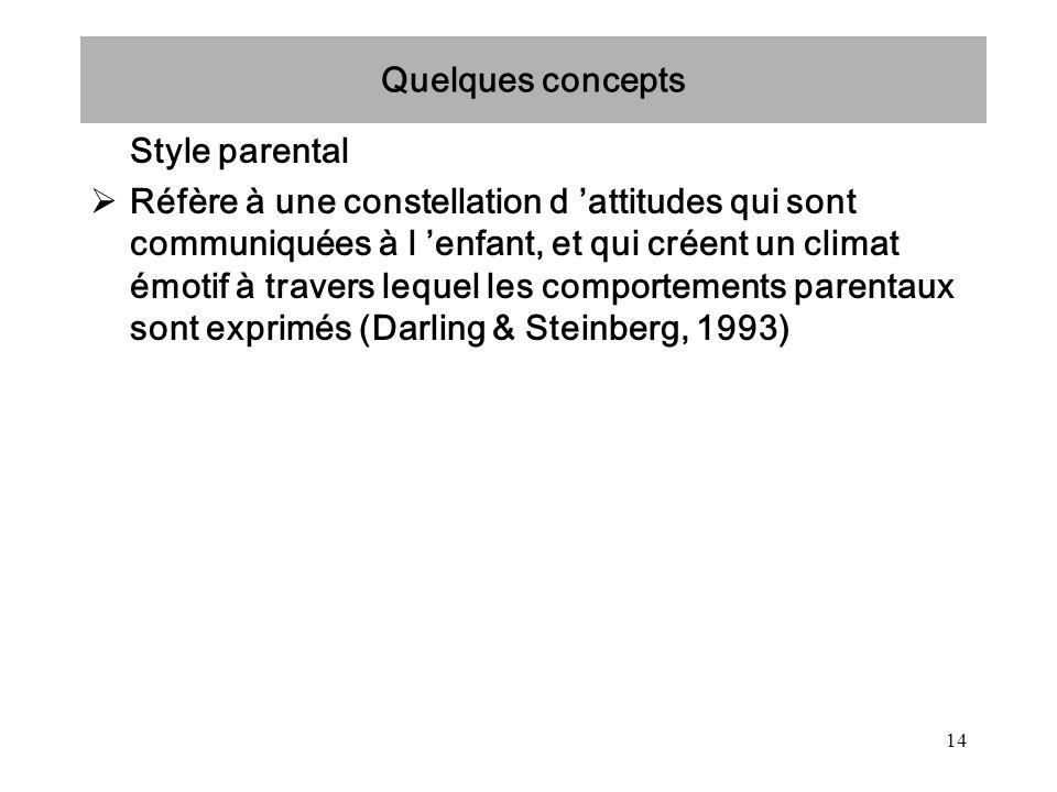 14 Quelques concepts Style parental Réfère à une constellation d attitudes qui sont communiquées à l enfant, et qui créent un climat émotif à travers